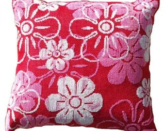 Cross stitch pattern FLOWER POWER - pillow cover,red,pink,cross stitch,needlepoint,embroidery,scandinavian,handmade,diy,anette eriksson,kids