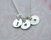 Hand Stamped Sterling Silver Initial Tag Necklace - Initially Tagged
