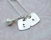 Hand Stamped Sterling Silver Square Tags with a Pearl - Tagged Squared