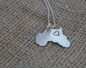 Hand Stamped Silver Charm on a Sterling Silver Chain - Africa
