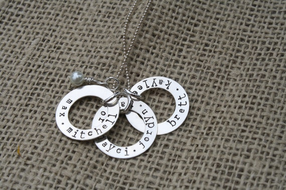 Hand Stamped Sterling Silver Necklace - Washers