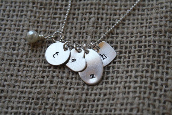 Hand Stamped Sterling Silver Necklace - Tags
