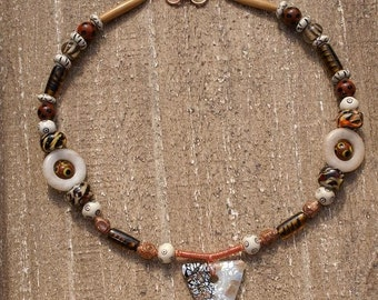Copper Brown Gold Colors Tribal Look Necklace