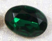 Vintage Large Emerald Oval Glass Jewel or Stone, 25X18 mm