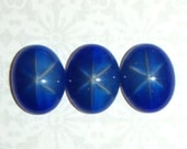SALE Vintage Glass Star Sapphire Cabochons, 18X13 MM, 4