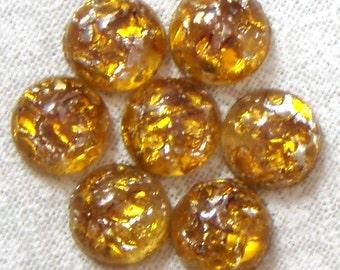 Vintage Topaz Glass Opal Cabochons, 7 MM Round, 6