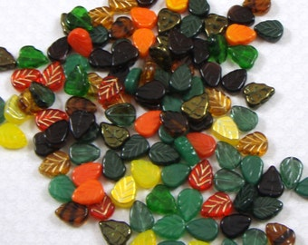 Fall Glass Leaf Bead Collection, 25