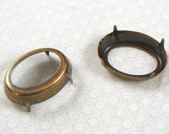 Pronged Settings, Antiqued Brass 25X18 MM Oval, OB, 4