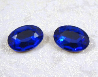 Vintage Oval Sapphire Blue Glass Jewels or Stones, 18X13 mm, 2