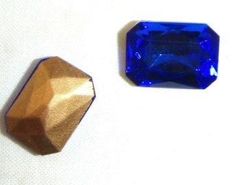 Vintage Sapphire Blue Octagonal Glass Jewels or Stones, 25X18 mm