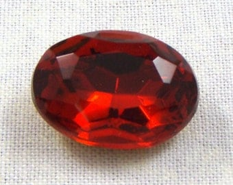 Vintage Siam Ruby Red Oval Glass Jewel or Stone, 30X22 MM
