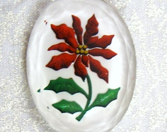 SALE Red Poinsettia Reverse Impressed Large Oval Cabochon, 40X30 MM