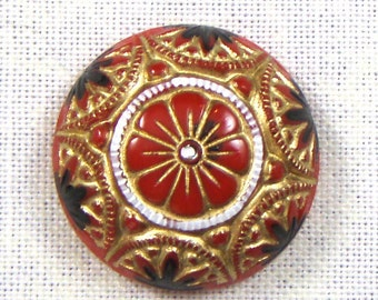Vintage German Hand Painted Red, Gold and Black Mosaic Style Round Glass Cabochons, 2