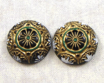 Vintage German Hand Painted Green, Gold and Black Mosaic Style Round Glass Cabochons, 2