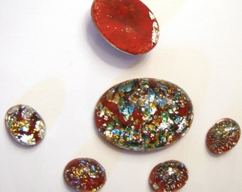 Vintage Red Glass Opal Cabochons, 18X13 mm Oval, 2