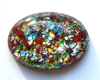 Vintage Red Glass Faux Fire Opal Cabochon, 25X18 mm
