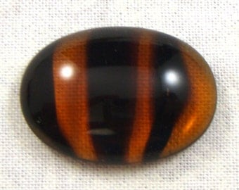 Vintage Tortoise Shell Glass Cabochons, 25X18 mm Oval