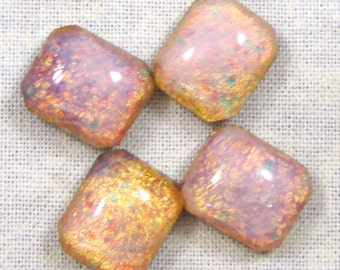 Vintage Glass Faux Opal Glass Cabachons, 12X10 mm Octagonal, 4
