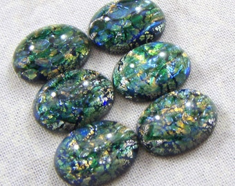 Vintage Emerald Green Glass Faux Opal Cabochons, 18X13 mm, 2