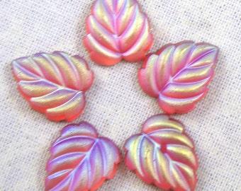 Glass Leaf Cabochons,  Luminous Matte Rose AB, 6