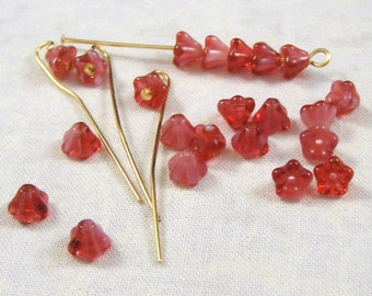 Crystal / Pink Givre Baby Bell Flower Glass Beads, 25
