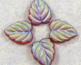 Glass Leaf Cabochons, Luminous Matte Ruby AB, 6