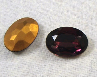 Vintage Amethyst Glass Jewel or Stone, 18X13 MM Oval, 2
