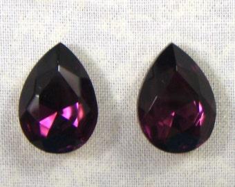 Vintage Pear Shaped Amethyst Glass Jewels or Rhinestones, 18X13, 2