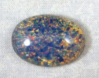 Vintage Czech Blue Glass Opal Cabochons,  25X18 MM Oval