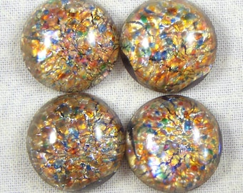 Vintage Red Multi Fire Glass Opal Art, 18 MM Round Cabochons, 2