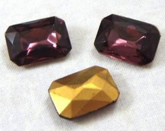 Vintage Octagonal Amethyst Glass Jewels or Stones, 18X13 mm, 2