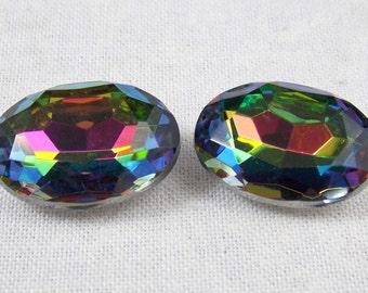 Vintage Vitrail Medium Oval Glass Jewels or Stones, 18X13 mm, 2
