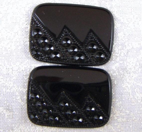 Vintage Art Deco Style Jet Black Geometric Pattern Glass Cabochons or Tiles, 2