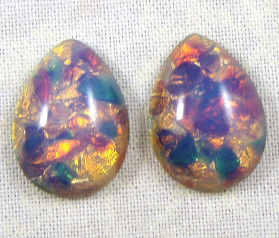 Vintage Glass Opal Cabochons,  Pink Fire Harlequin,  Czech, 18X13 MM Pear, 4