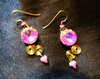 Shockingly Pink Rivoli Earrings by Beadinmama