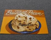 VINTAGE Ice Cream Advertising Poster Buttered Pecan Bennett's Ottawa Kansas