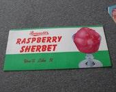 VINTAGE Ice Cream Advertising Poster Raspberry Sherbet NOS