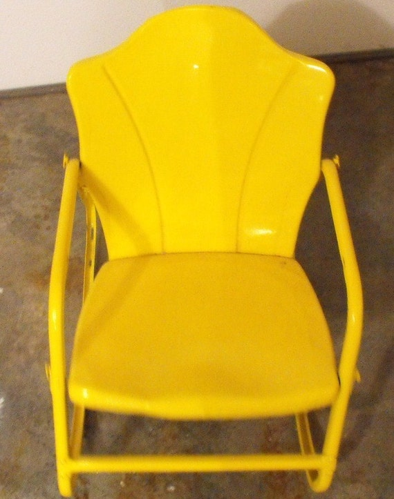 Vintage Yellow Metal Child S Rocking Chair Outdoor
