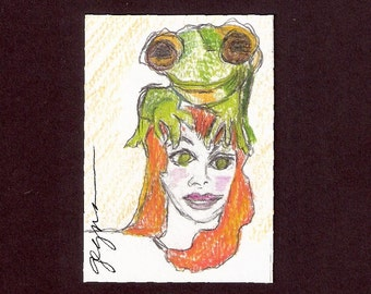 ACEO She Dreams of her Amphibian Past