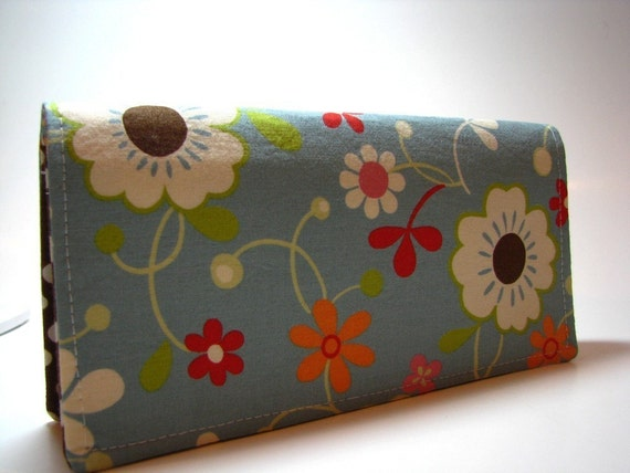 Check book Cover - Sky Floral Blue