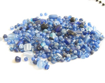 Shades Of  Blue Mixed Glass Beads