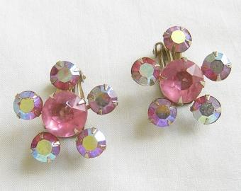 Vintage Pink Aurora Borealis Rhinestones Star Earrings
