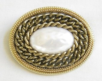 Vintage Faux White Baroque Pearl with Chains Brooch or Pin