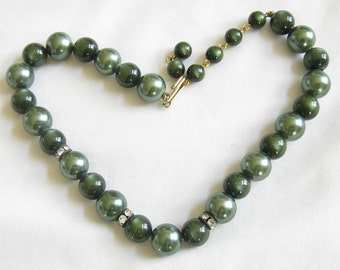 Vintage Green Bead Necklace with Moonglow Beads and Rhinestone Rondells