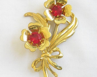 Vintage Red Rhinestone Bow and Flower Brooch