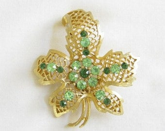 Vintage Dark and Lime Green Open Work Leaf Brooch or Pin