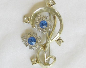 Vintage Blue and Clear Rhinestones Flower Brooch or Pin