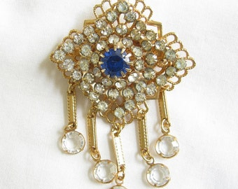 Vintage Blue and Clear Rhinestone Crystal Dangle Brooch or Pin