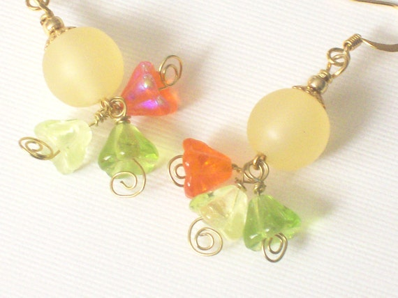 Sunkissed Flower Cluster Earrings - Fun Bright Spring or Summer Jewelry - Citrus Colors