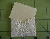 10 mini white lace envelopes with 10 blank cards -- you choose the color